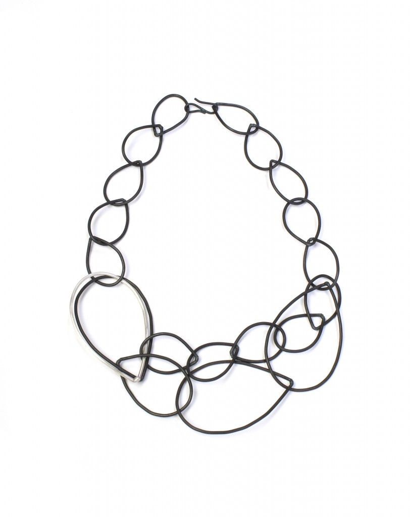 daphne necklace - black and silver chain link statement necklace