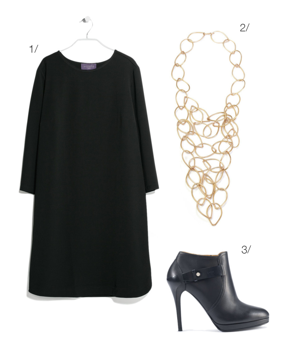 little black shift dress, statement necklace, booties // click for outfit details