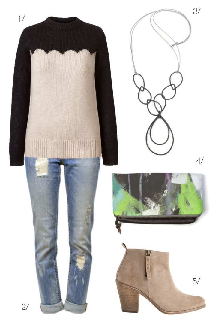 casual fall style: sweater, distressed denim, ankle boots // click for outfit details