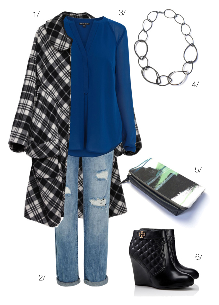 plaid statement coat and chunky chain necklace for fall // click for outfit details