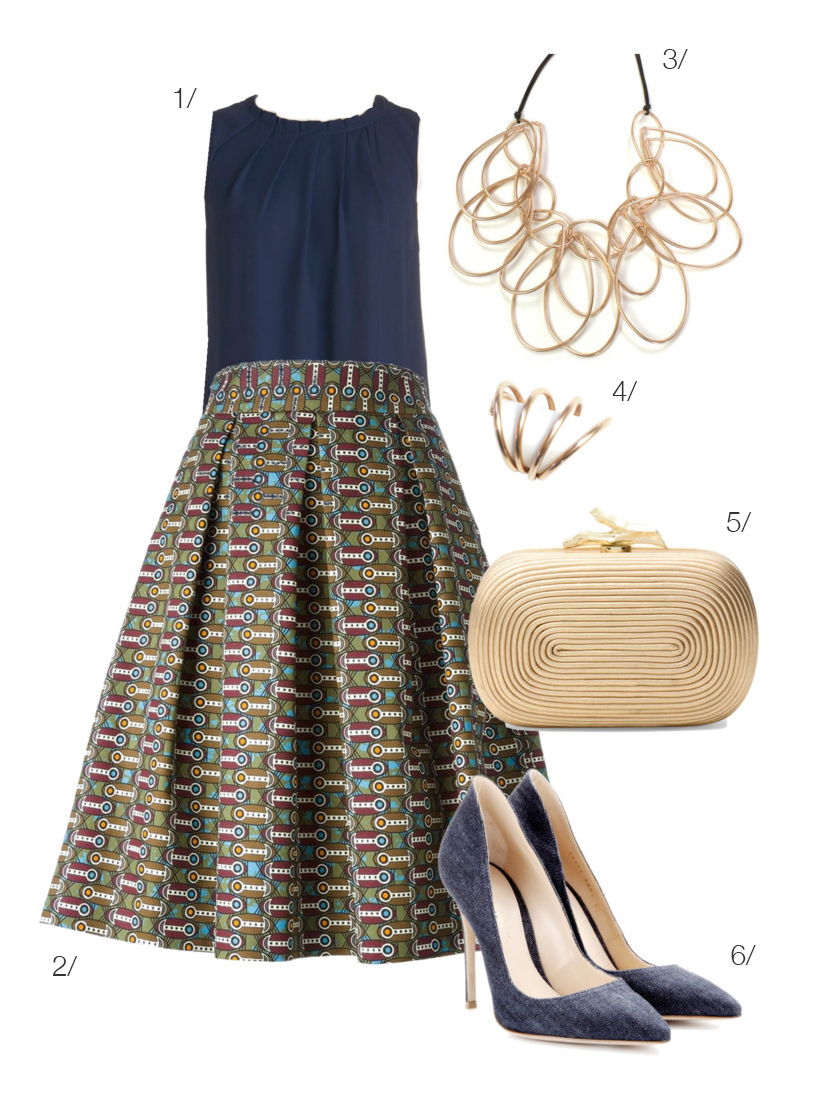 inspired by Alexander Calder: bold skirt and wire jewelry // click for outfit details