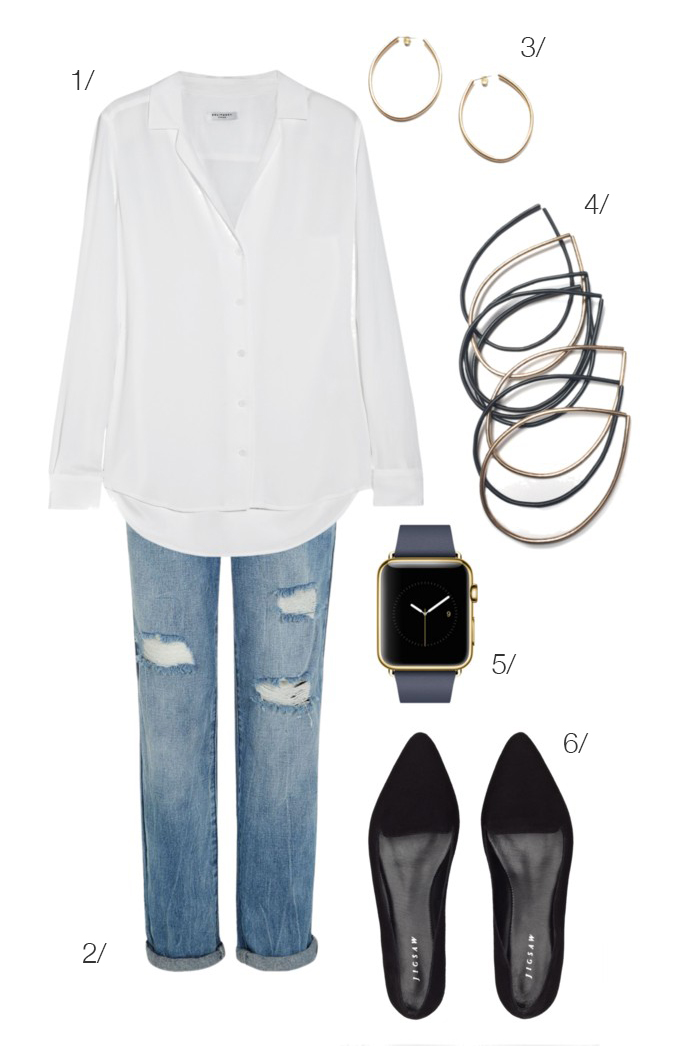 casual classic weekend style: white shirt, distressed jeans, stacking bracelets, and the apple watch // click for outfit details