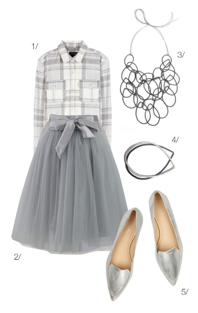 mix a plaid flannel shirt with a floaty tulle skirt in a monochromatic color palette // click for outfit details