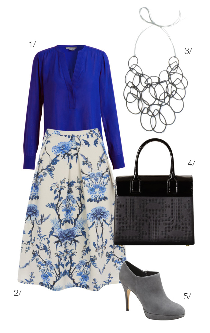 mix delicate florals with bold colors and powerful accessories // click for outfit details
