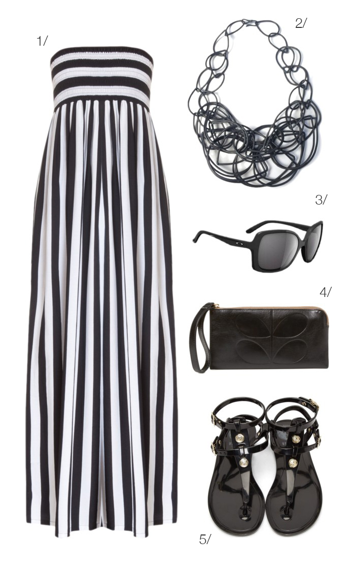 pair a statement necklace with a black and white maxi for a chic seaside look // click for outfit details