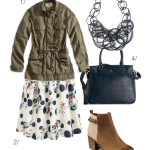 gritty meets girly: midi skirt and military jacket