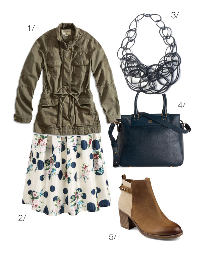 pair a girly midi skirt with a military inspired jacket for a fun style twist // click for outfit details