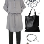 simple and chic: shirt dress and skinny trousers