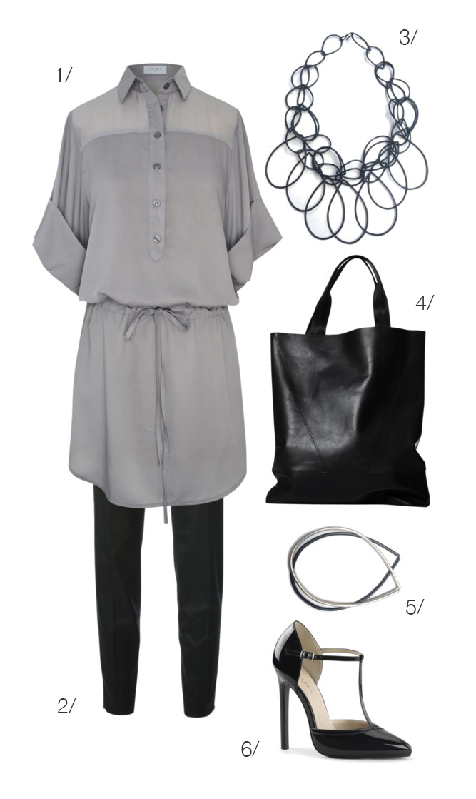 shirt dress, skinny trousers, statement necklace, heels // click for outfit details