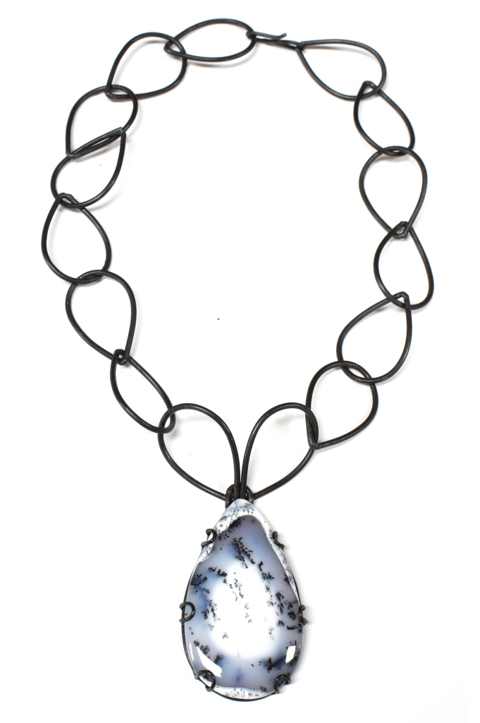 bold contra necklace: one of a kind dendritic agate set in a custom setting