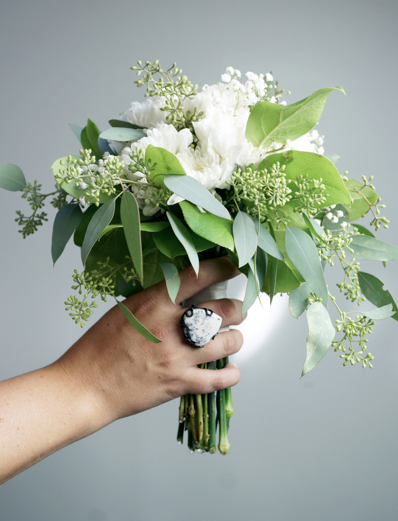 bridesmaid bouquet and dendritic agate ring via megan auman