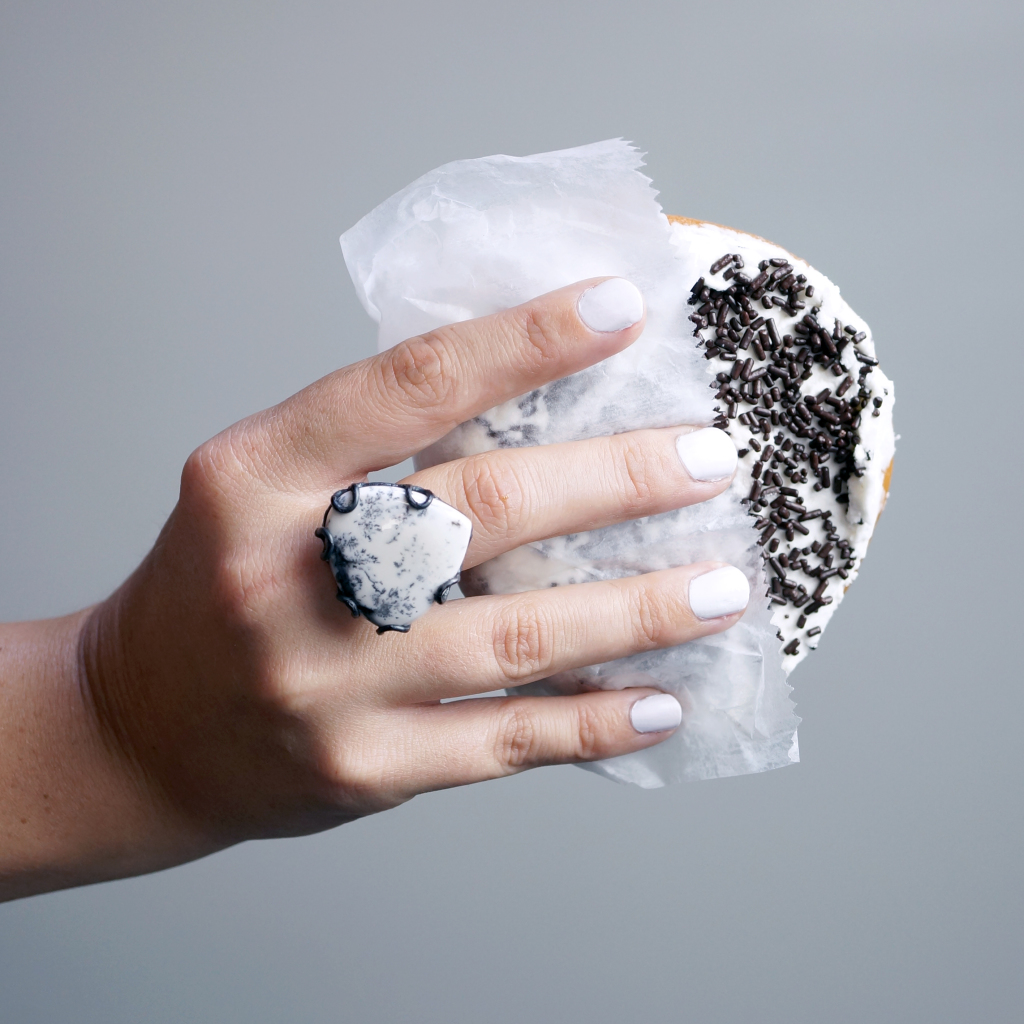 treat yo' self twice with a donut and statement ring / via megan auman