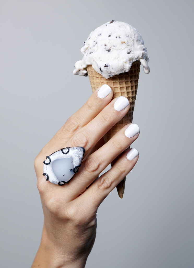 statement ring, white nail polish, ice cream