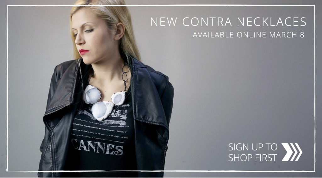 bold contra necklaces arriving March 8