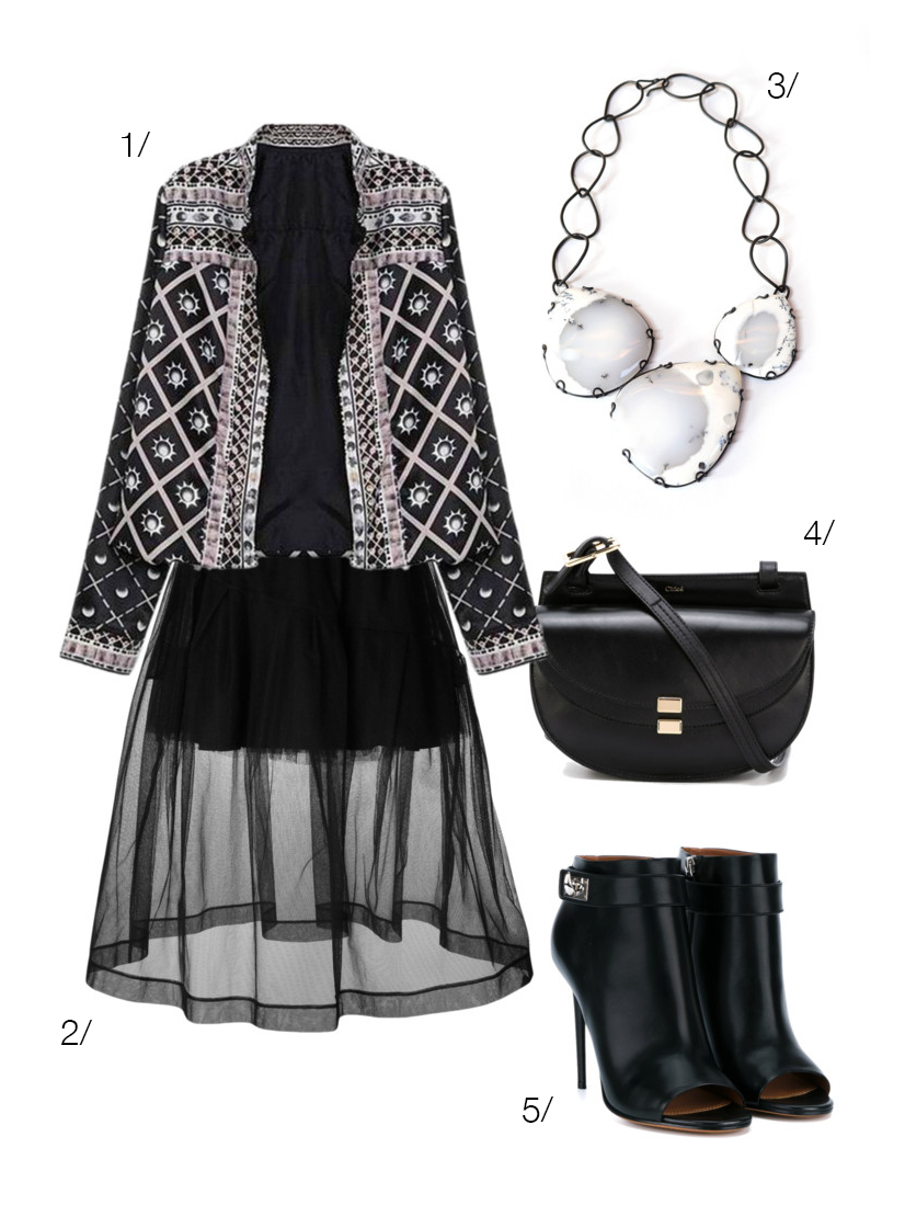 a creative coat and bold statement necklace mixed with urban street style cool