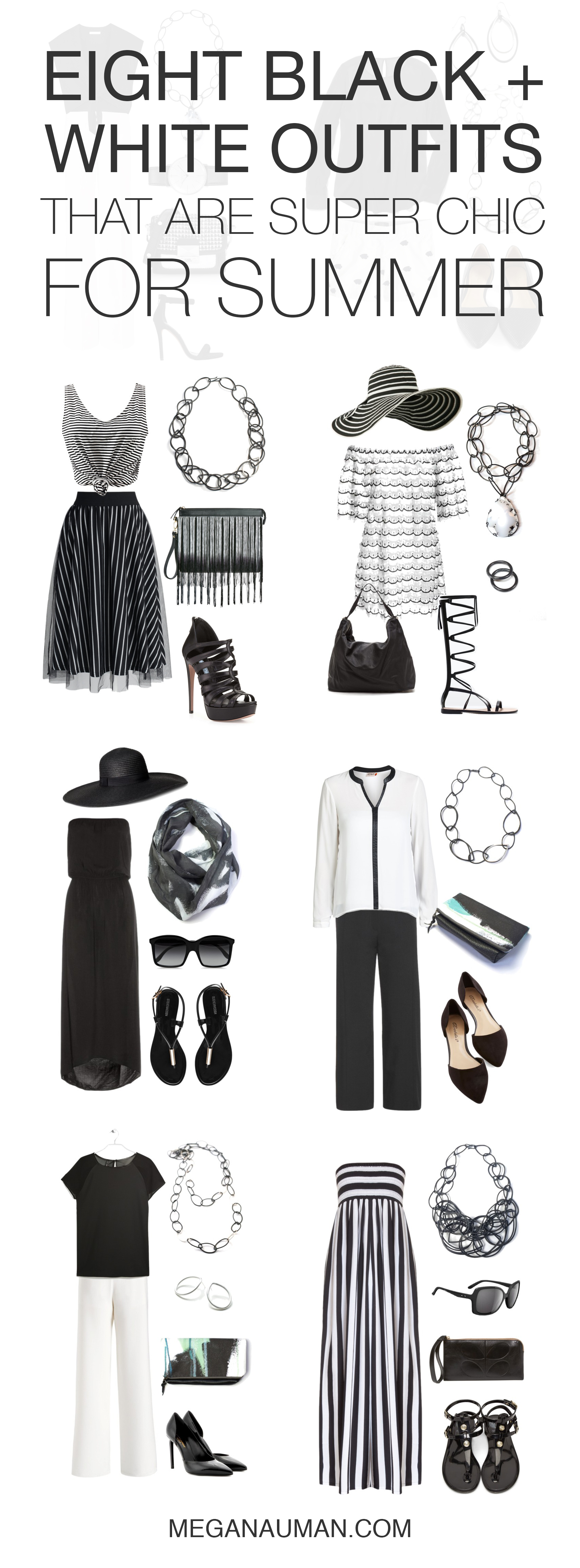 chic summer style: 8 black and white outfits to try // click through for outfit details