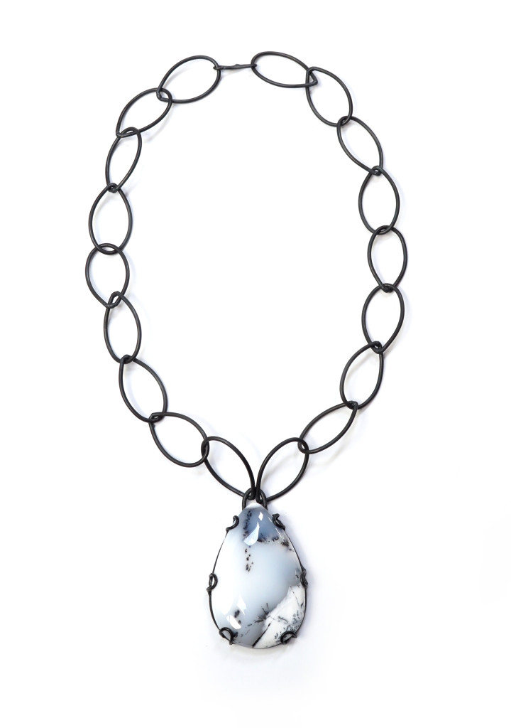 contra necklace // dendritic opal and black chain link necklace by megan auman