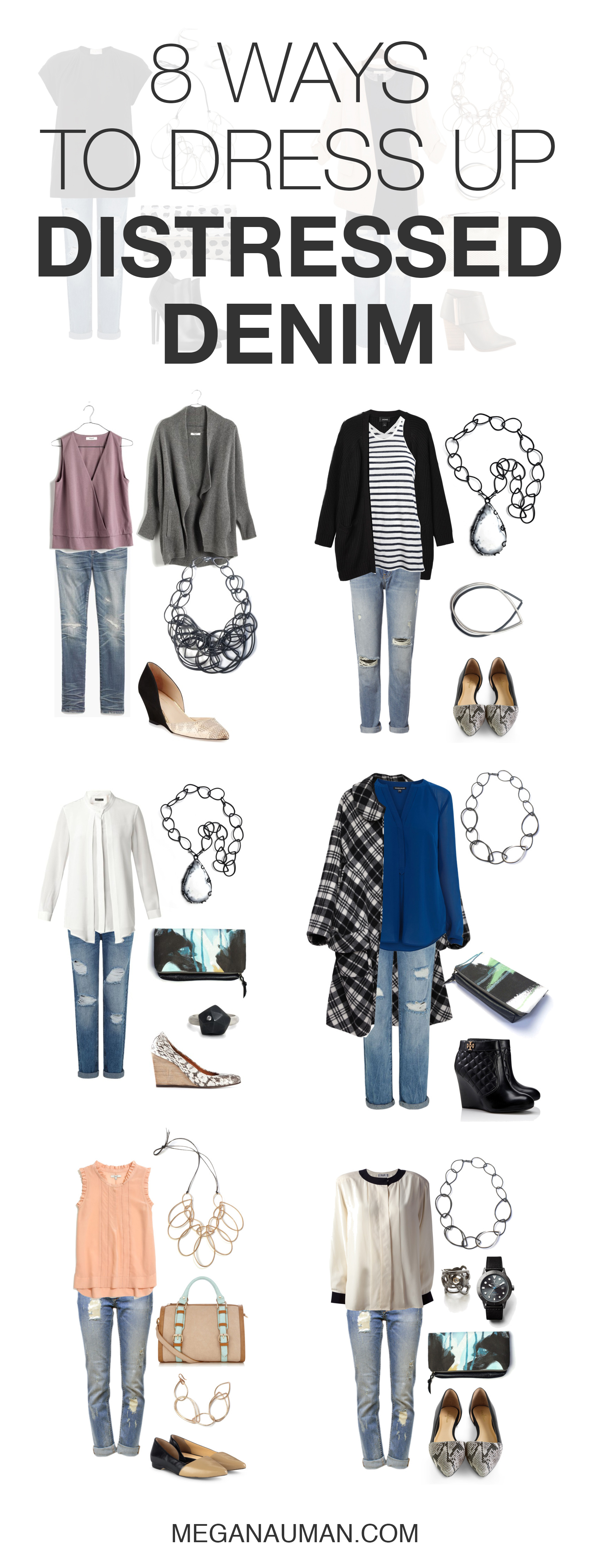 how to dress up distressed denim jeans: 8 style ideas // click through for outfit details