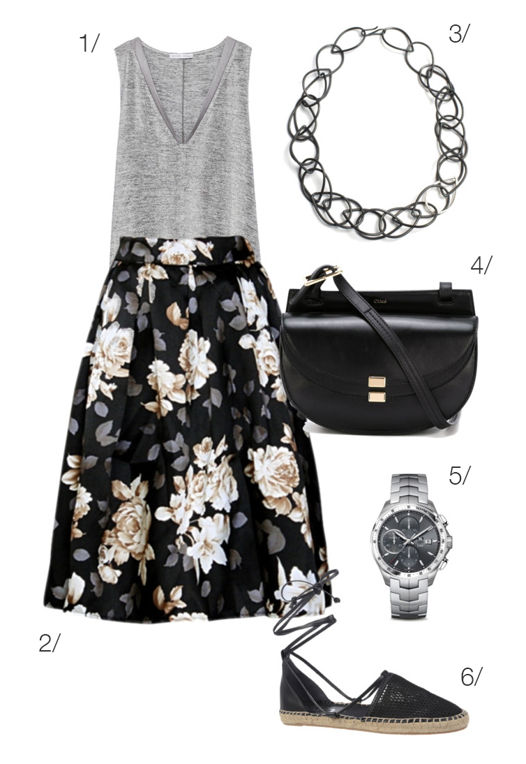 mix a floral skirt with casual pieces for a chic outfit perfect for exploring a new city this summer // // click through to see anther way to style this skirt