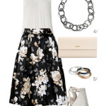 one floral skirt, two ways: casual city sightseeing and a dressy vineyard wedding