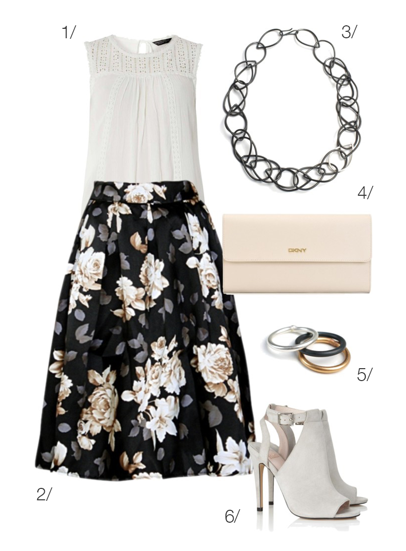 style this floral skirt with blush and neutral accessories to wear to a summer vineyard wedding // click through to see anther way to style this skirt