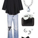 summer date night style: distressed denim and an off the shoulder top
