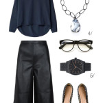 what to wear to work this summer: leather culottes and a billowy blouse