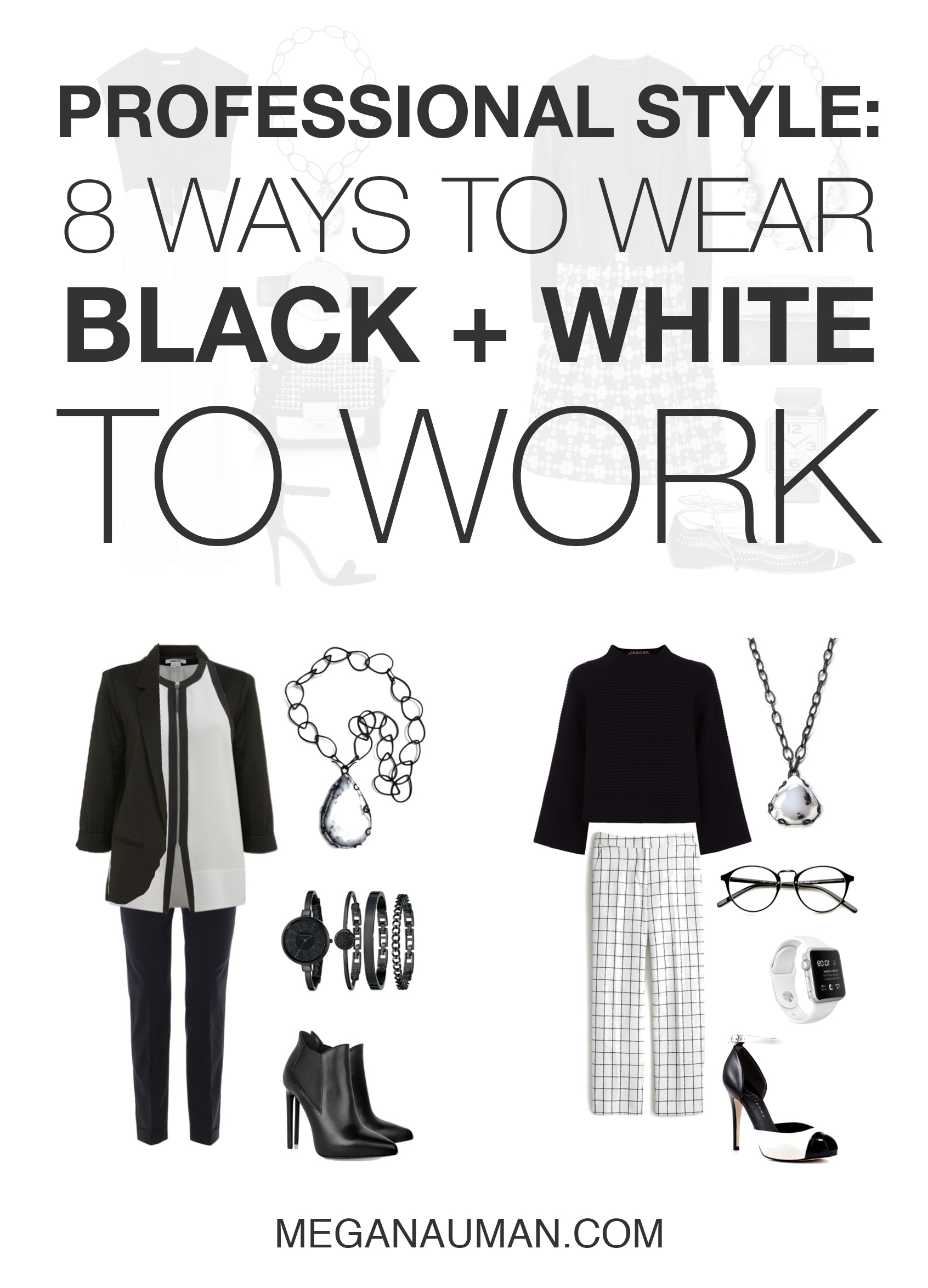 professional style: 8 chic and stylish ways to wear black and white to work // click through for outfit ideas