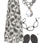 black and white printed maxi and bold necklace
