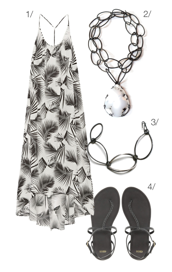 black and white printed maxi and bold necklace // click through for outfit details