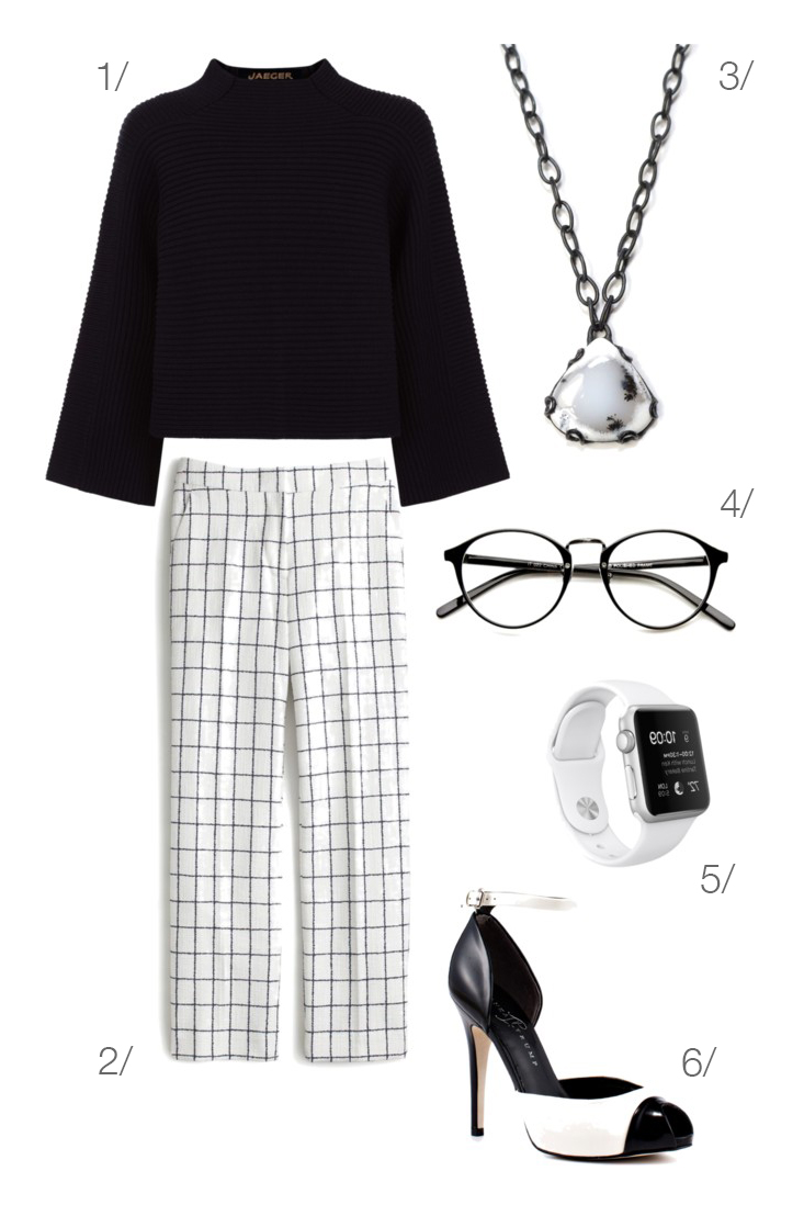 black and white windowpane checked pants for work // click through for outfit details