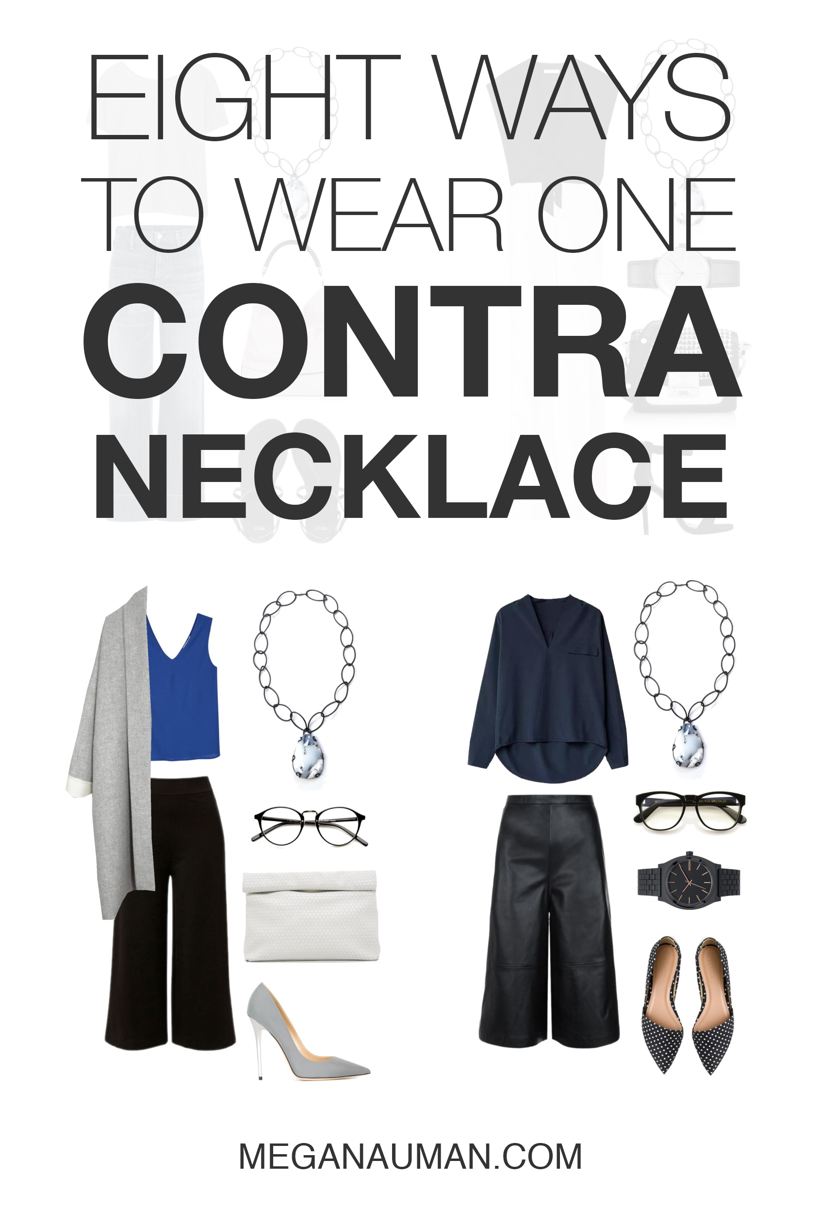 from casual style to professional workwear, the one of a kind Contra necklace could be the most versatile piece in your wardrobe / click through to see eight ways to wear the Contra necklace