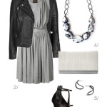 edgy and chic: grey dress and biker jacket