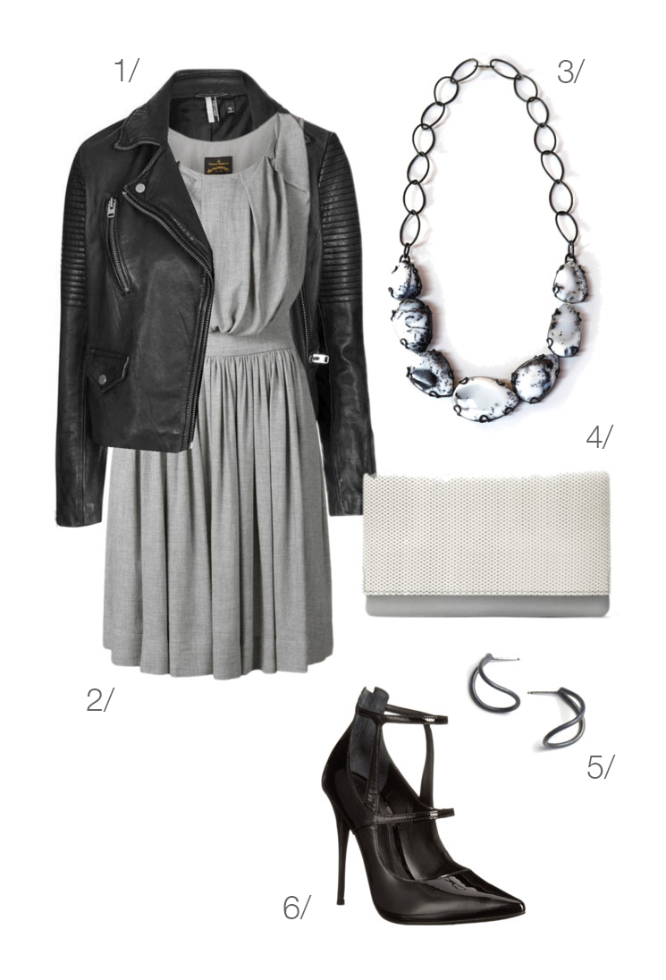 edgy and chic: grey dress and biker jacket // click through for outfit details
