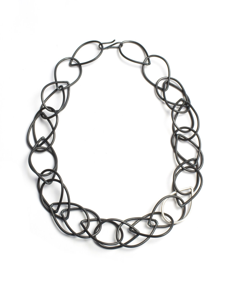 isabella necklace / black chunky chain link necklace by megan auman