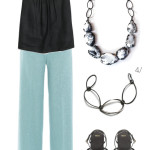 simple and chic summer style: black, white, and aqua