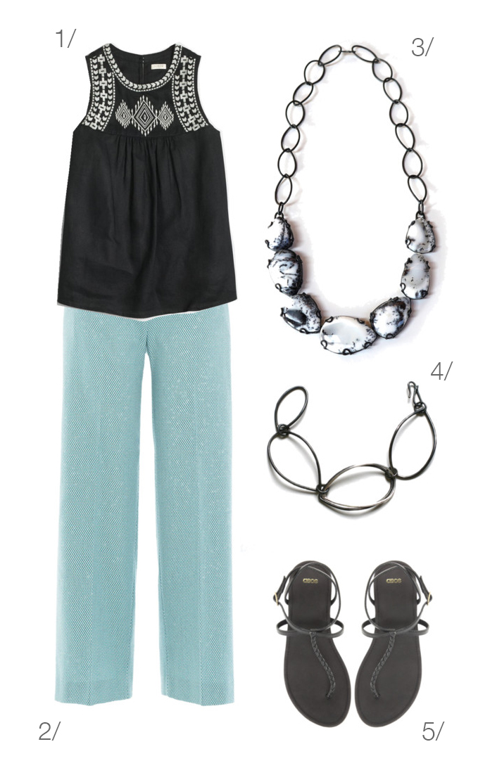 simple and chic summer outfit: black and white embroidered top and aqua pants // click through for details