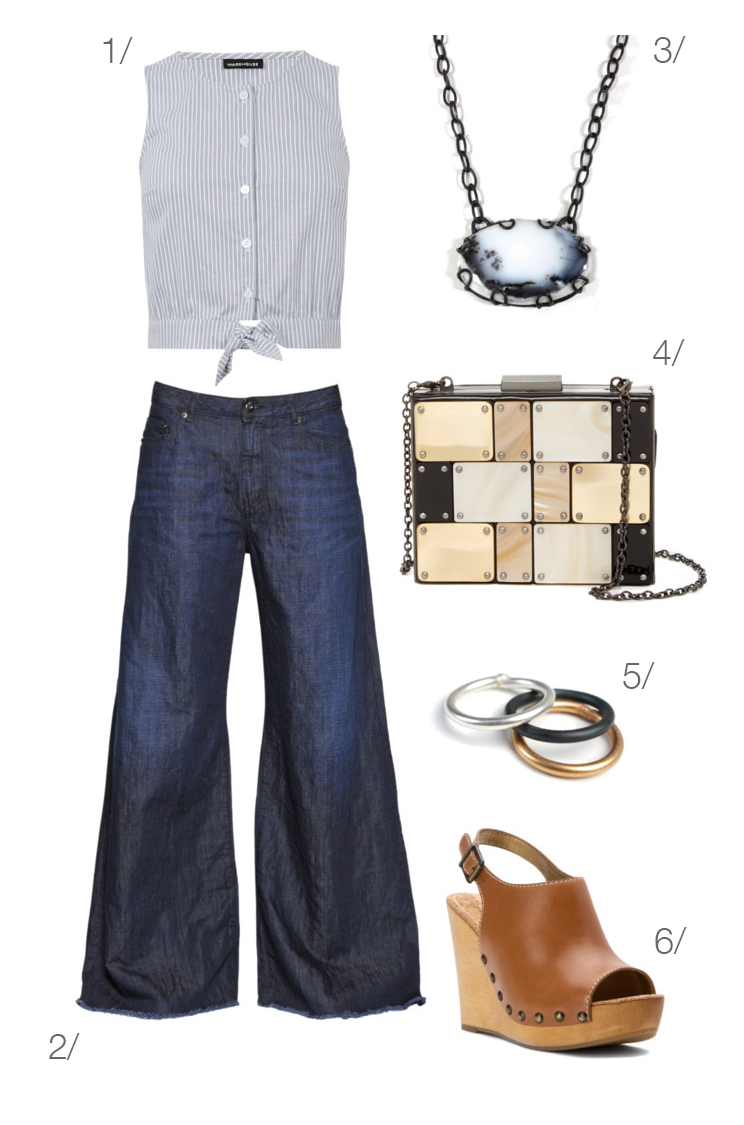 vintage sailor summer style: wide leg jeans and wedges // click through for outfit details