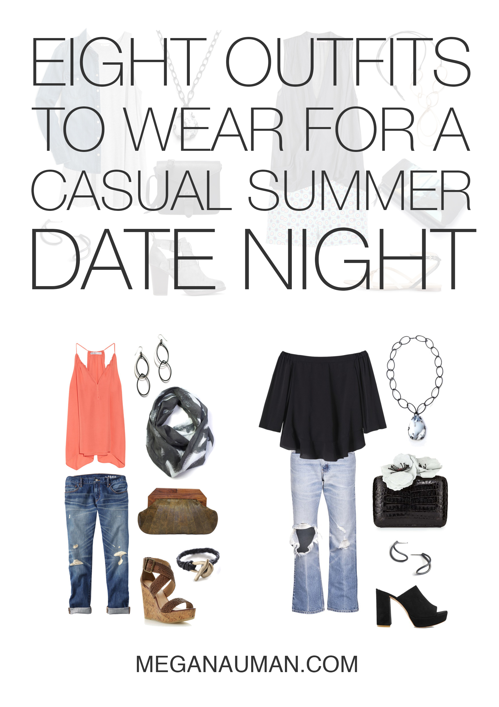 what to wear on a casual summer date night: 8 outfit ideas // click through for outfit details