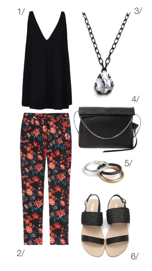 casual and chic summer style: floral print pants, black tank, and sandals // click through for outfit details