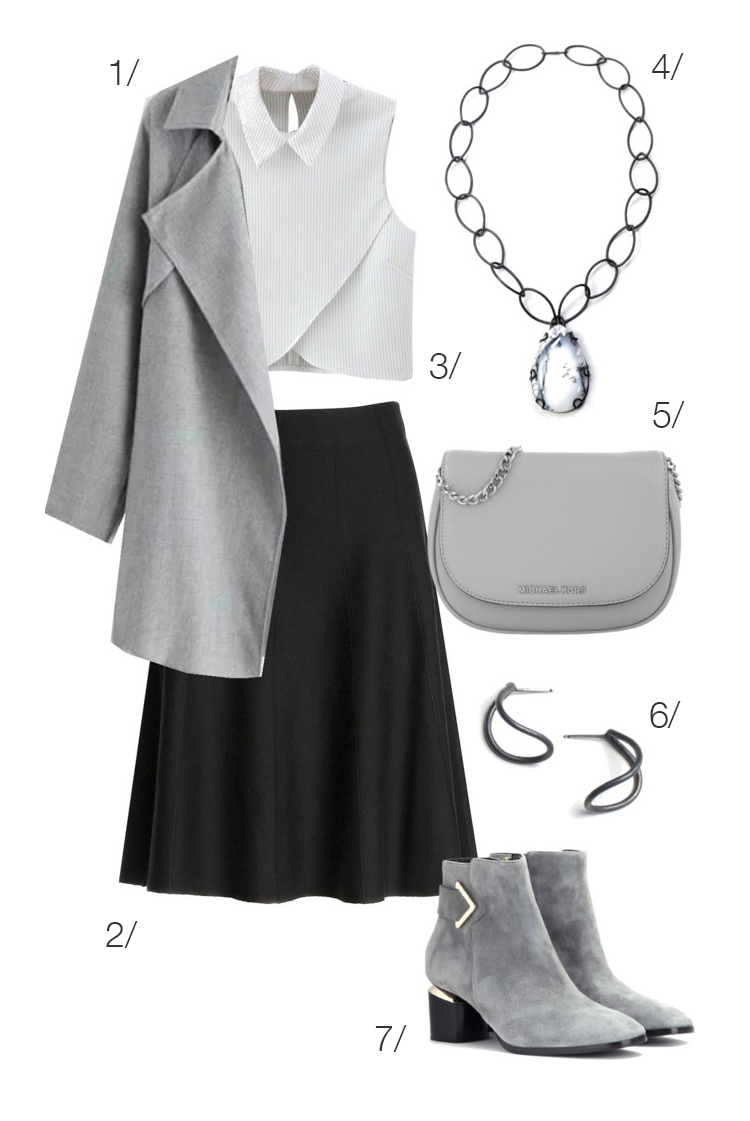 chic in a skirt and grey booties for fall // click through for outfit details