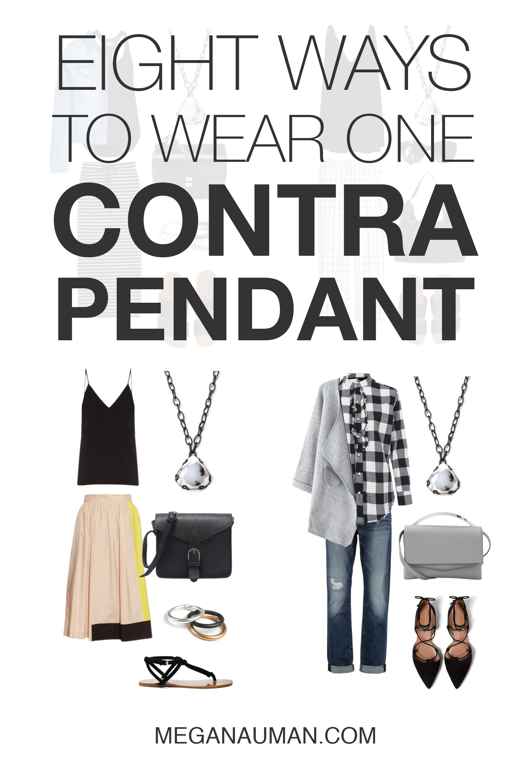 from casual summer style to classic fall outfits, this one of a kind Contra pendant works with your wardrobe / click through to see eight ways to style the Contra pendant