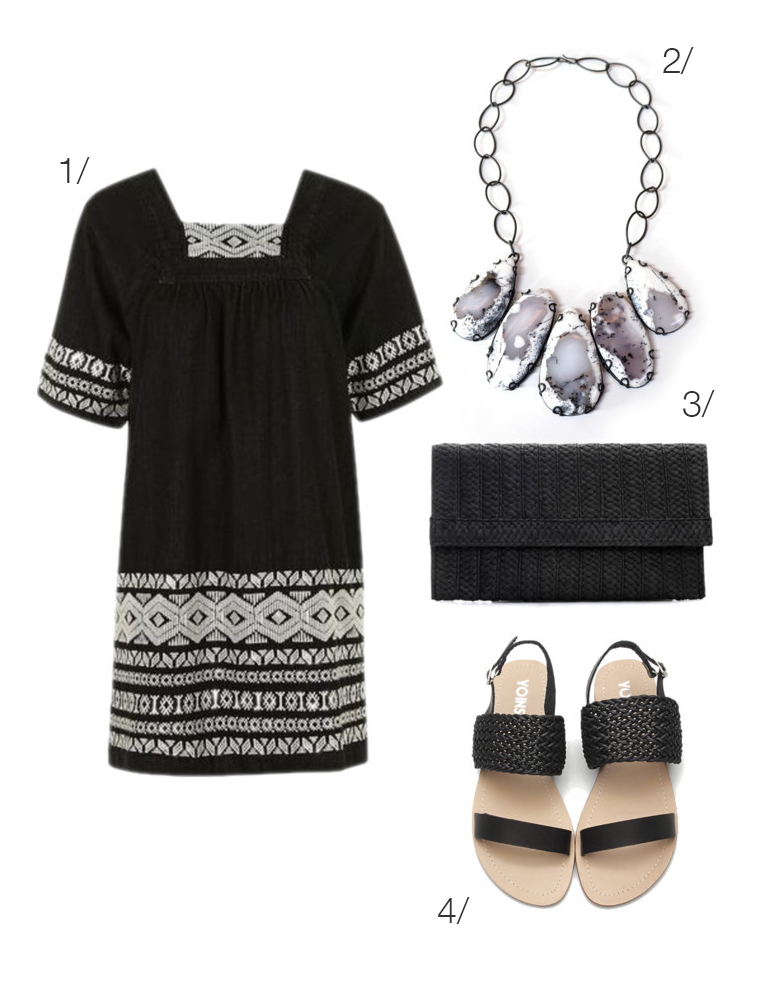 embroidered little black dress and statement necklace for summer // click through for outfit details