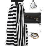 outfit remix: black and white striped maxi skirt and black top