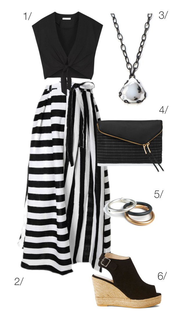 outfit remix: black and white striped maxi skirt and black top ...