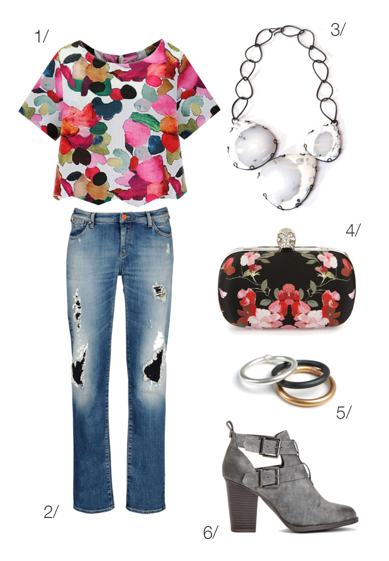 pattern mixing: bold floral top and bib statement necklace // click through for outfit details