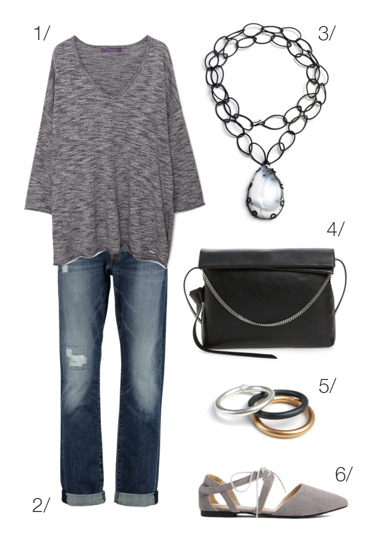 simple casual style: jeans, t-shirt, and a bold stone necklace // click through for outfit details