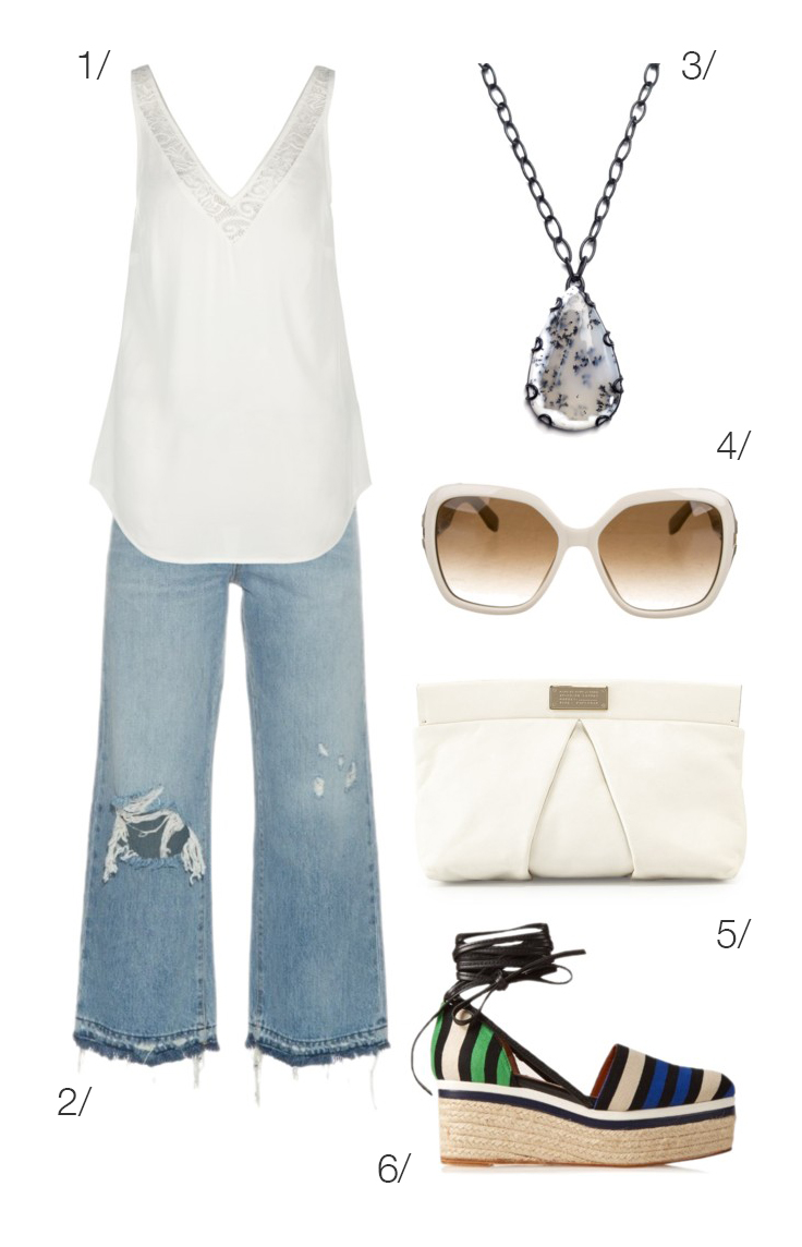 summer style: wide leg jeans and a white top and accessories // click through for outfit details