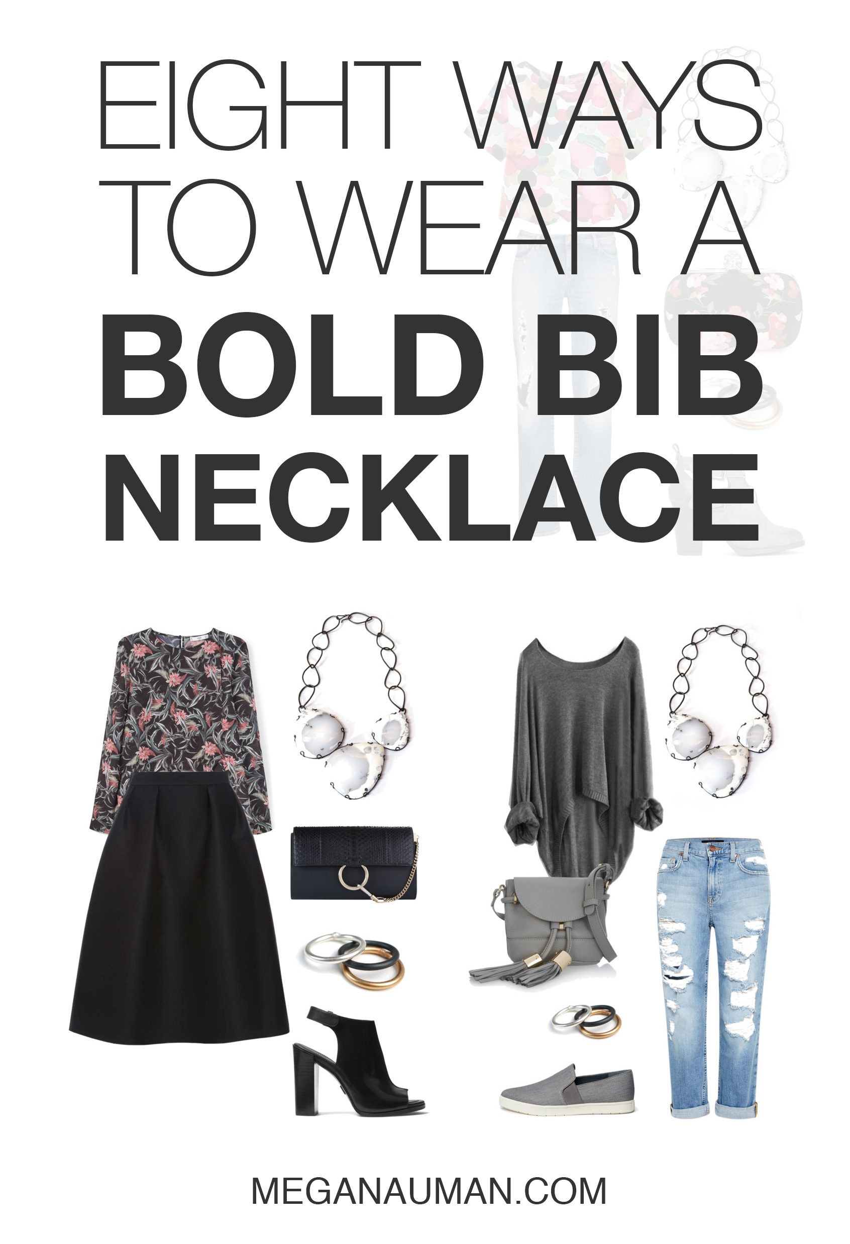 eight ways to style a bold bib statement necklace - from casual to professional to party // click through for outfit details