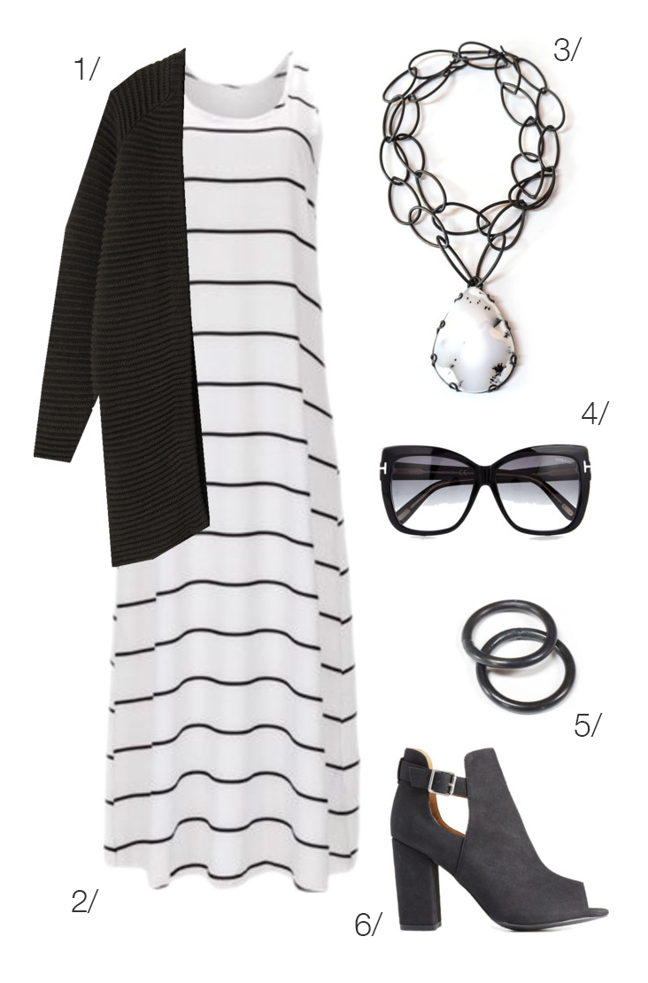 black and white maxi dress for fall // click through for outfit details